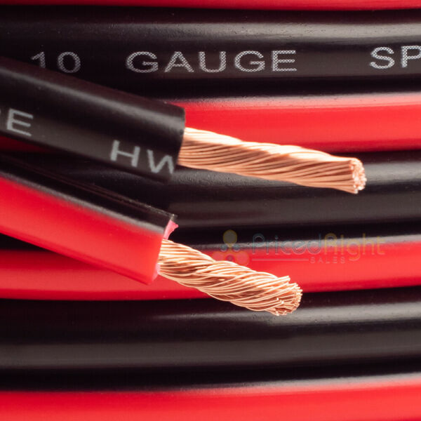 25 FT 10 Gauge Speaker Cable Car Home Audio AWG 25' Red & Black Zip Wire