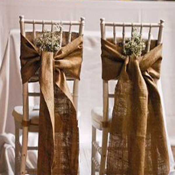 150 Burlap Chair Sashes Bows 100% Refined Natural Jute Squared end Wedding Event