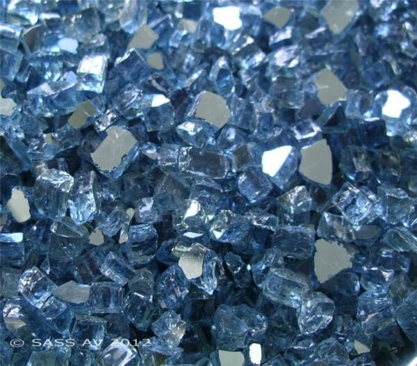 PACIFIC BLUE REFLECTIVE 1 4quot; Fireglass fireplace Glass Fire pit Glass crystals
