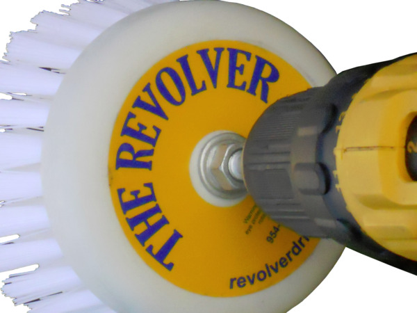 The REVOLVER POWER SCRUB DRILL BRUSH-CLEAN SHOWER,TILE, GROUT, TRUCK, RV