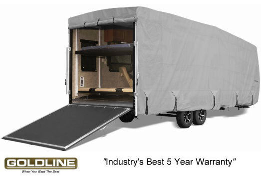 Goldline Premium RV Trailer Toy Hauler Cover Fits 44 to 46 Foot Grey