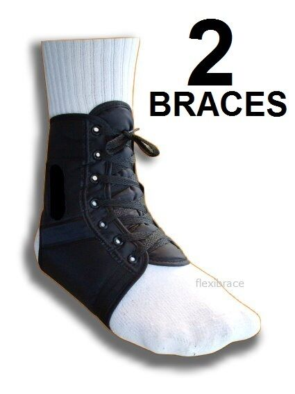 Ankle Brace Support Stabilizer Lace up ( ONE PAIR ) By FLEXIBRACE