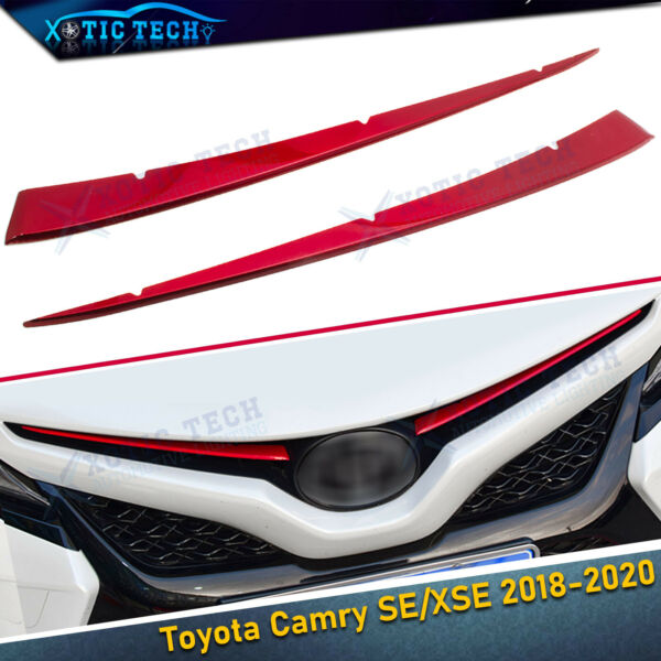 For Toyota Camry 2018 2019 Red Stainless Front Center Grill Grille Cover Trims