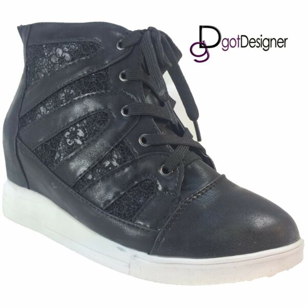 NEW Women's Shoes High-Top Sneakers Lace-up Lace Floral Suede Casual Size 5-10
