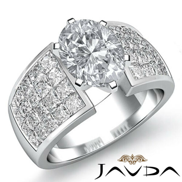 Sturdy Invisible Set Oval Diamond Engagement Ring GIA G VS2 Platinum 950 2.74 ct