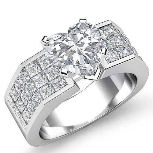 Huge Heart Diamond Sturdy Engagement Ring GIA Certified H SI1 Platinum 2.54 ct