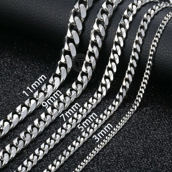 18quot; 36quot; Stainless Steel Silver Tone Chain Cuban Curb Mens Necklace 3 5 7 9 11mm