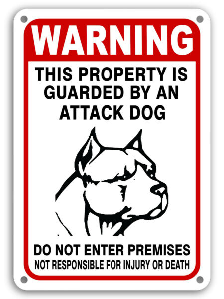 Guard Dog on Duty Signs Beware of Dog Sign Dogs Will Bite Attack Dog 7quot;x 11quot; $6.49