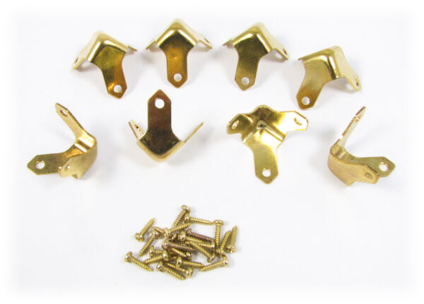 8pc. Small Brass Trunk Box Corners a Great Accent for Your Project