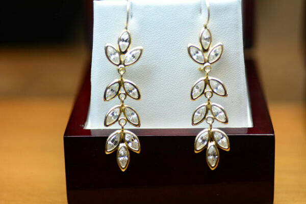 14K Yellow Gold Colorless Marquise  Spinel Earrings 7.72 grams 45mm x 3mm x 12mm