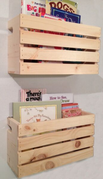 2 Lg Crate Style Book Shelves Shelf Kids Rustic Crates Wall Mount Pinterest