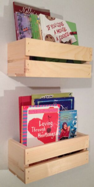 2 Sm Crate Style Book Shelves Shelf Kids Rustic Crates Wall Mount Pinterest