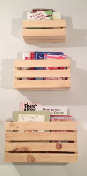 SET OF 3 SIZES Crate Style Book Shelves Shelf Kids Crates Wall Mount Pinterest
