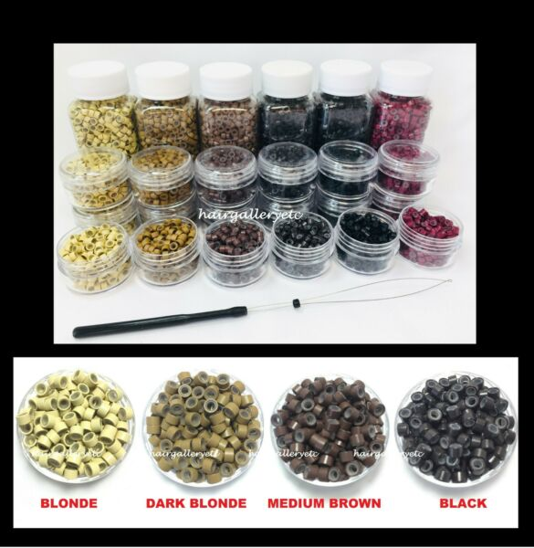 Silicone Lined Micro Rings Crimp Beads for Feather Hair I Tip Extension LOOP USA