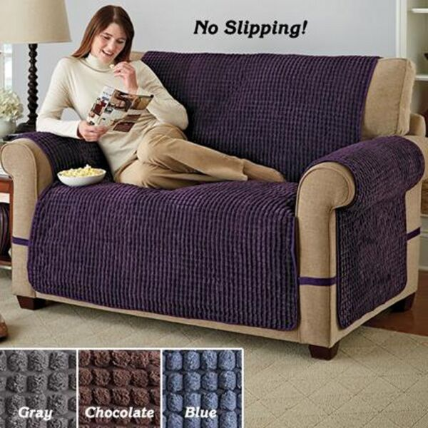 BLUE LOVESEAT ULTIMATE PUFF PLUSH FURNITURE PROTECTOR PET DOG KID SLIP COVER $10.95