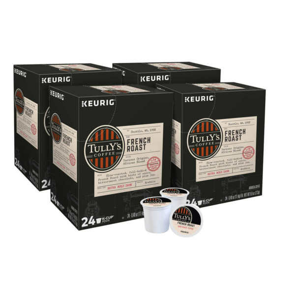 Tully#x27;s French Roast K Cups Green Mountain Coffee Dark Roast for Keurig 96 ct.