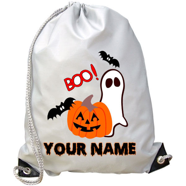 HALLOWEEN PERSONALISED PUMPKIN GHOST GYM  BAG - GREAT KIDS NAMED PARTY GIFT