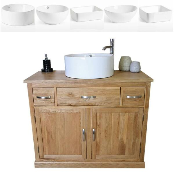 Bathroom Vanity Unit Oak Cabinet Furniture Wash Stand White Ceramic Basin 1161 A