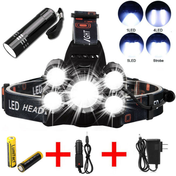 50000LM 5 Head XM-L T6 LED 18650 Headlamp Headlight Flashlight Head Torch Light
