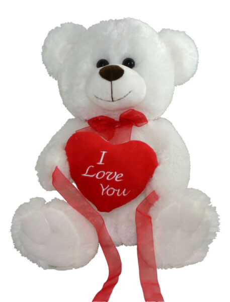 *NEW* WHITE LOVE YOU TEDDY BEAR SOFT PLUSH VALENTINES DAY GIFT - 12