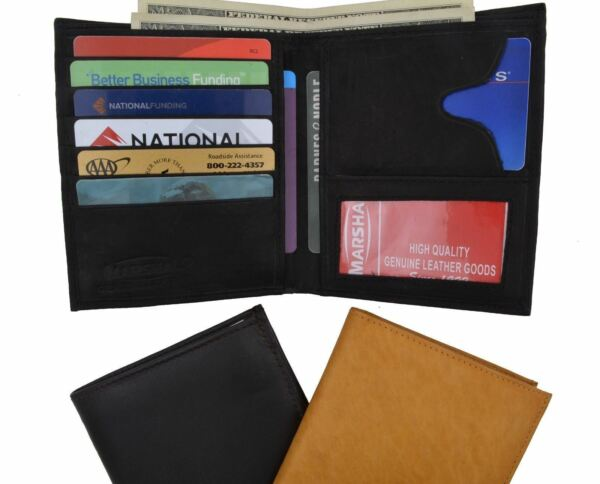 Genuine Leather Large Hipster Bifold Credit Card Id Men's Wallet