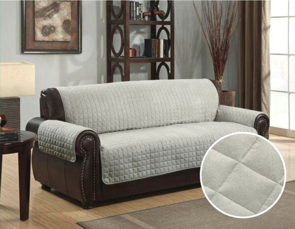 QUILTED MICRO SUEDE PET DOG COUCH SOFA FURNITURE PROTECTOR COVER KASHI GREY $26.99