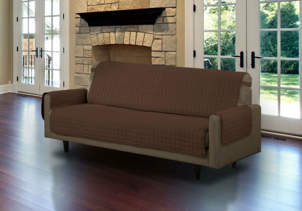 QUILTED MICROFIBER PET DOG COUCH SOFA FURNITURE PROTECTOR WITH STRAP BROWN $24.99