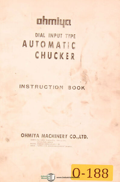 Ohmiya OSM Series Automatic Chucker Instructions Manual