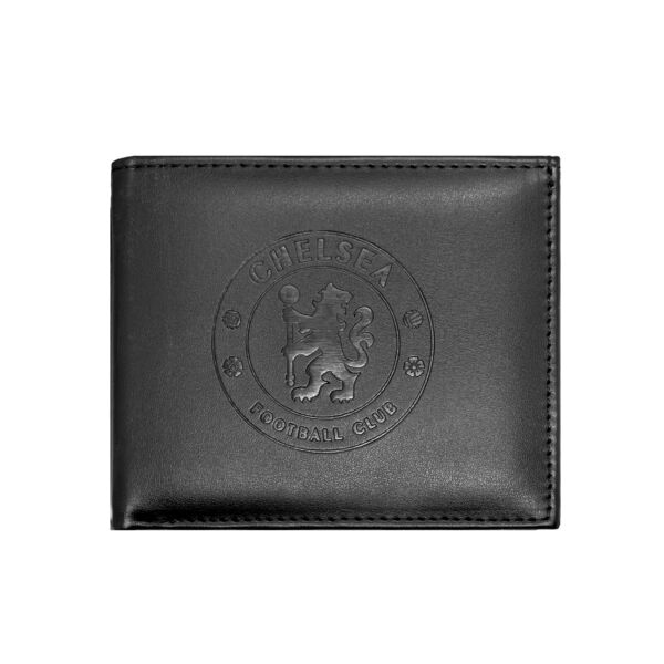 Chelsea Football Club Official Soccer Gift Embossed Crest Wallet Black