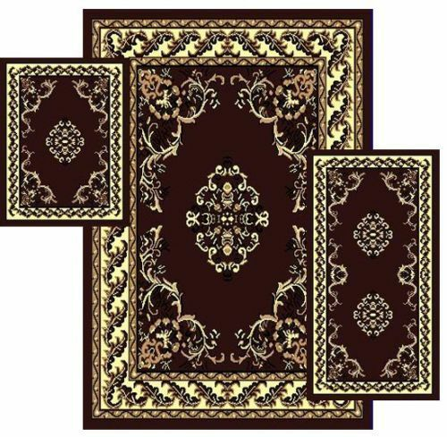 Rugs Set Traditional Persian Oriental Style 3 Pcs Area Rug with Runner Mat Set