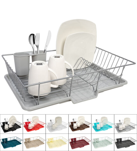 Sweet Home Collection 3-Piece Kitchen Sink Dish Drainer Set - Assorted Colors