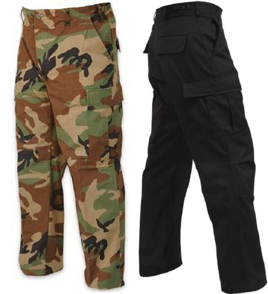 Black & Camo RELAXED FIT Military Zipper Fly 6-Pockets BDU Cargo Pants 2941