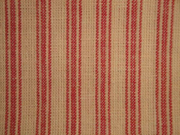 Red And Natural Tan Primitive Ticking Stripe Woven Cotton Homespun Sewing Fabric $12.95