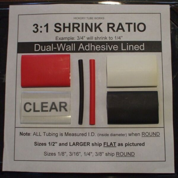 1 2quot; BLACK 4 Ft. Dual Wall Adhesive Lined Heat Shrink Tubing 3:1 Ratio $7.95