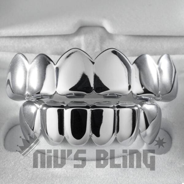 18K White Gold IP Plated Mouth Teeth GRILLZ Top & Bottom JOKER Silver Grill