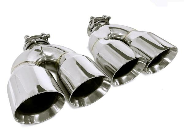 PAIR STAINLESS STEEL UNIVERSAL DUAL EXHAUST TIPS 3.5