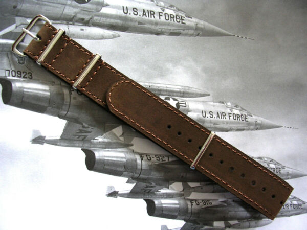 NATO G10 ® Bomber Leather Aviator Pilot watch band Military RAF strap IW SUISSE