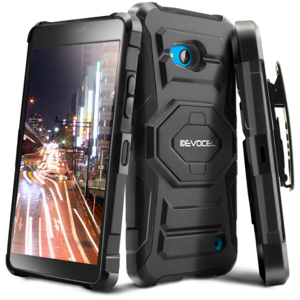 Evocel® Nokia Lumia 640 Rugged Holster Case with Kickstand & Belt Swivel Clip