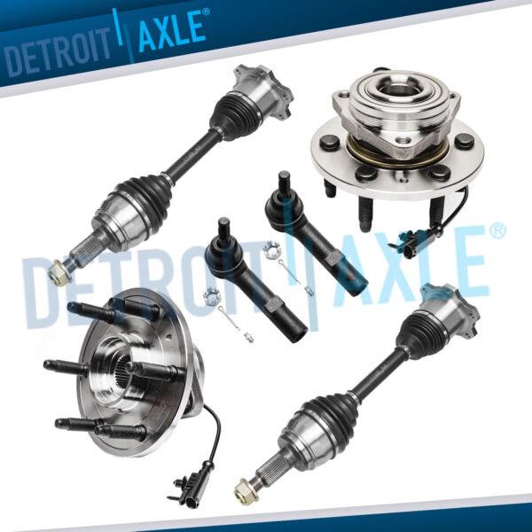 6pc Both (2) Front Wheel Bearing + 2 CV Axles + 2 Tie Rod Ends for Chevrolet GMC