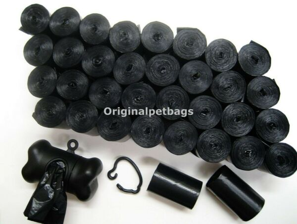 1000 Unscented Black Poop Bag Dog Waste Pick up coreless w Dispenser Made in USA $17.64