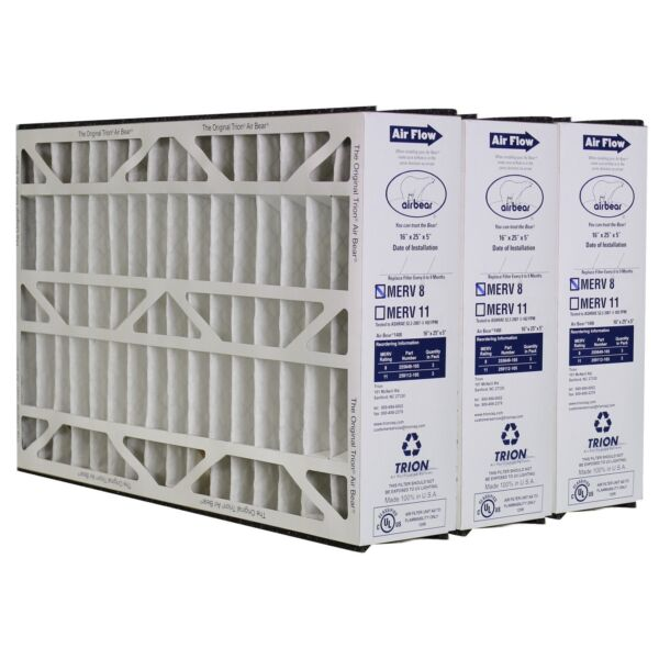 Trion Air Bear 255649-105 (3 Pack) Pleated Furnace Air Filter 16
