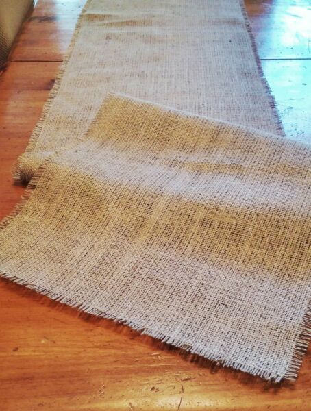 Natural Burlap Table Runner with Fringed Edge Various Sizes FREE SHIP