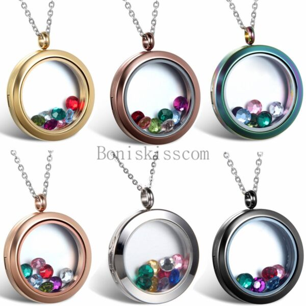 Stainless Steel Round Floating Charm Locket Living Memory Pendant Necklace