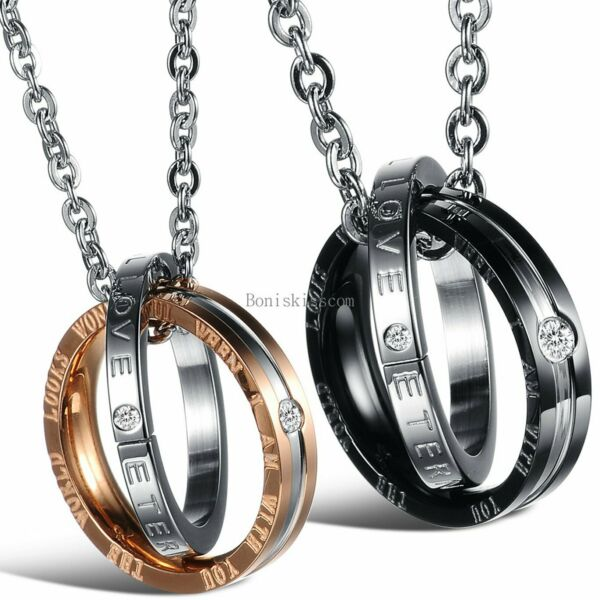 Eternal Love Interlocking Ring His and Hers Matching Couples Pendant Necklace $12.99