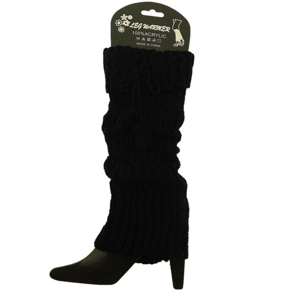 Leg Warmers Knit Ribbed 2 Pom Poms Stretchy Slouchy Boot Cuff  Soft Comfy Trendy