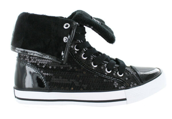 Gotta Flurt Women's Destiny High Top Fold Down Lace Up Sequin Fashion Sneakers