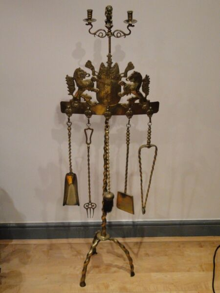 FIRE PLACE TOOLS ANTIQUE BRASS DUTCH 1850 CAST DESIGN TOP QUALITY AMSTERDAM