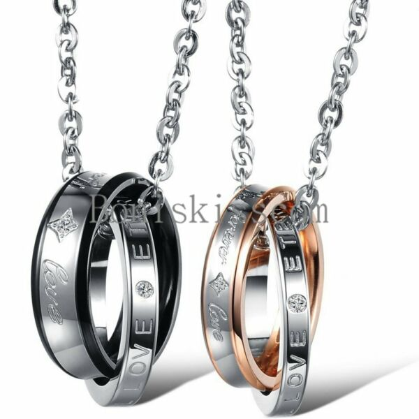 Stainless Steel quot; Forever Love quot; Ring Pendant Necklace Boyfriend Girlfriend Gift