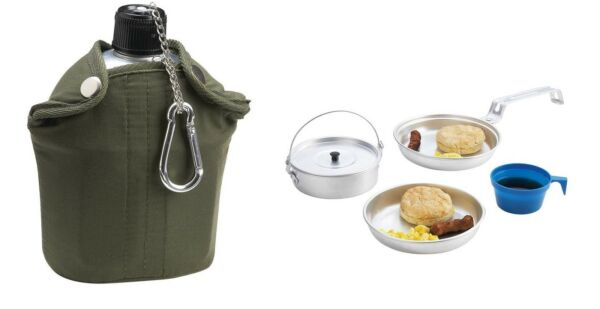 Aluminum Canteen or Mess Kit Army Military GI Style Cup Cover Survival Camping