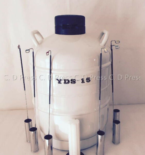 New 15L Liquid Nitrogen Tank Cryogenic Container LN2 Dewar+6Pcs Pails+Lock Cover
